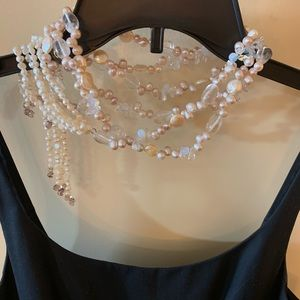 Mother of pearl& amethyst wraparound necklace belt